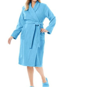 Dreams Co Cotton Spa Robe & Slipper Set 4X Sky #3